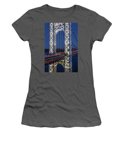 Women's T-Shirt (Athletic Fit) featuring the photograph George Washington Bridge Gwb by Susan Candelario