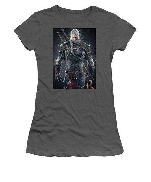 Women's T-Shirt (Athletic Fit) featuring the digital art Geralt Of Rivia - Witcher  by Taylan Apukovska