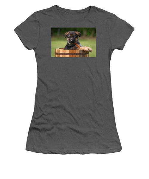 German Shepherd Puppy In Planter Women's T-Shirt (Athletic Fit)