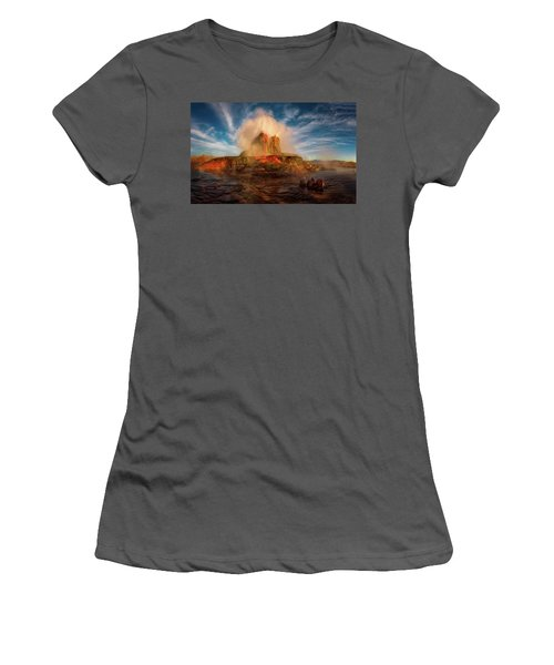 Geyser Steams At Dawn Women's T-Shirt (Athletic Fit)