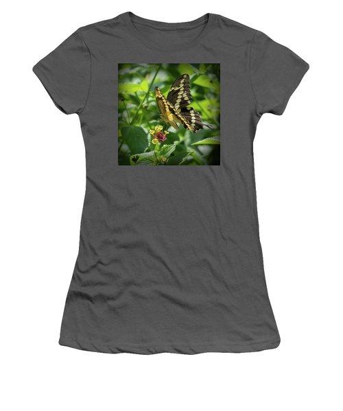 Giant Swallowtail On Lantana Women's T-Shirt (Athletic Fit)