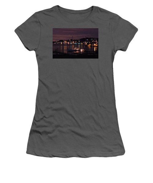 Women's T-Shirt (Junior Cut) featuring the photograph Gig Harbor At Night by Jack Moskovita