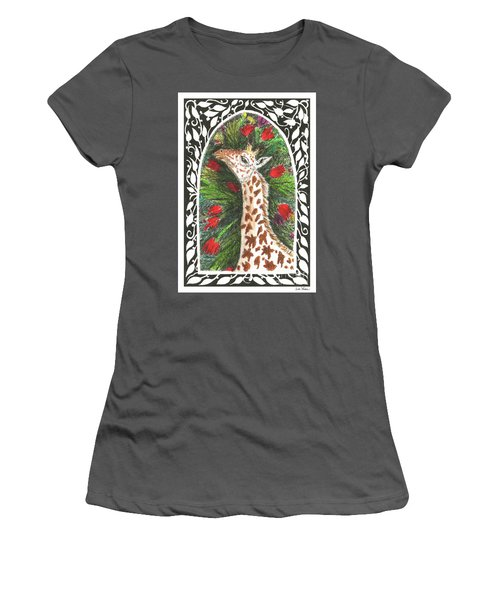 Giraffe In Archway Women's T-Shirt (Athletic Fit)