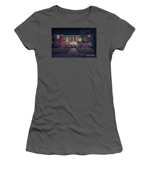 Women's T-Shirt (Junior Cut) featuring the photograph Girard Hall At Night by Gregory Daley  PPSA