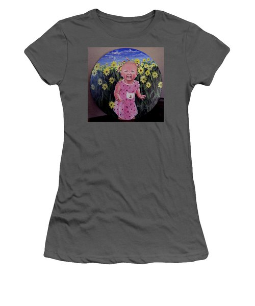 Girl And Daisies Women's T-Shirt (Athletic Fit)