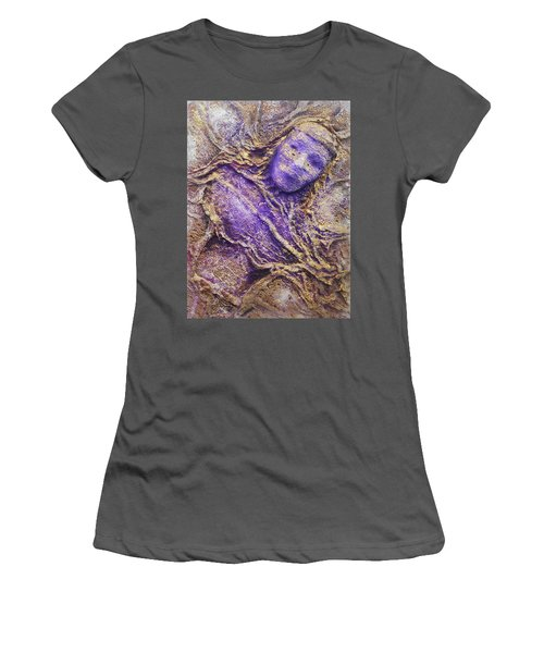 Women's T-Shirt (Junior Cut) featuring the mixed media Girl In Purple by Angela Stout