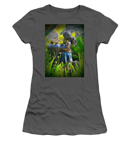 Women's T-Shirt (Junior Cut) featuring the photograph Girl In The Garden by Lori Seaman