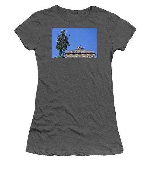 Women's T-Shirt (Athletic Fit) featuring the photograph Giuseppe Tartini Statue - Piran Slovenia by Stuart Litoff