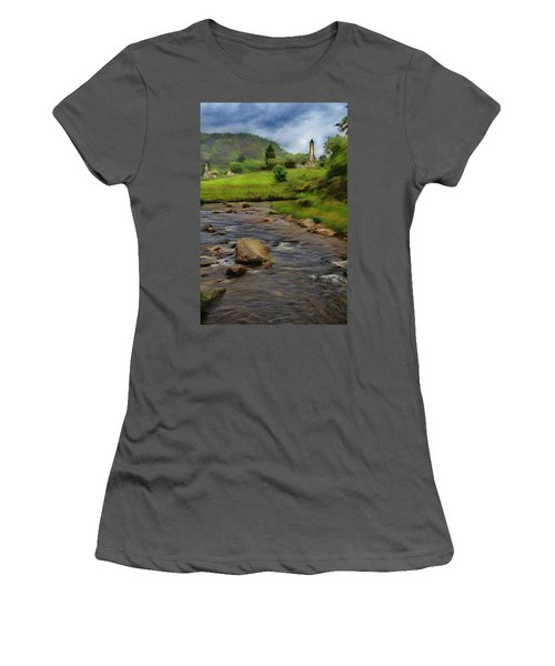 Women's T-Shirt (Junior Cut) featuring the painting Glendalough In The Distance by Jeff Kolker