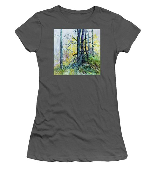 Women's T-Shirt (Junior Cut) featuring the painting Glow From The Tamarack by Joanne Smoley