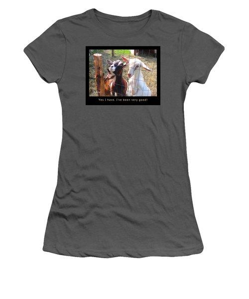 Women's T-Shirt (Junior Cut) featuring the photograph Goats Poster by Felipe Adan Lerma