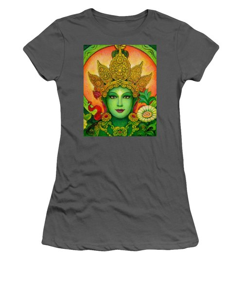 Goddess Green Tara's Face Women's T-Shirt (Athletic Fit)