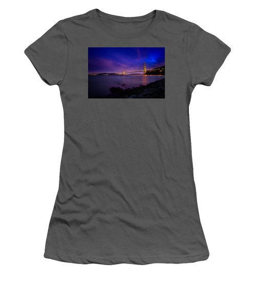 Golden Gate Bridge At Night Women's T-Shirt (Athletic Fit)