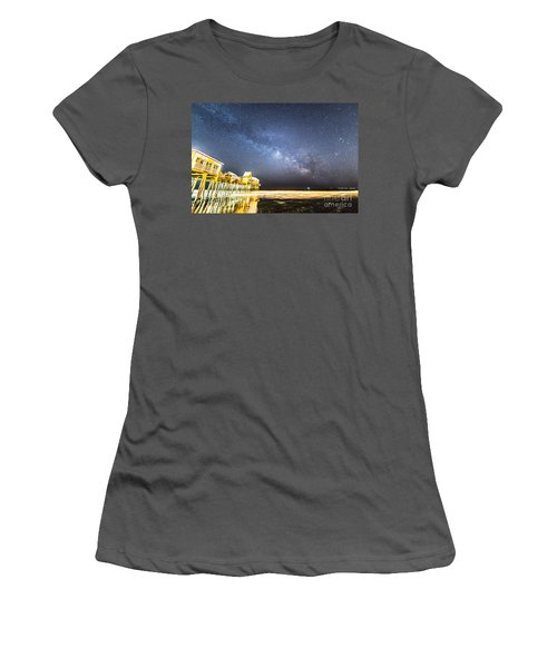 Golden Pier Under The Milky Way Version 1.0 Women's T-Shirt (Athletic Fit)