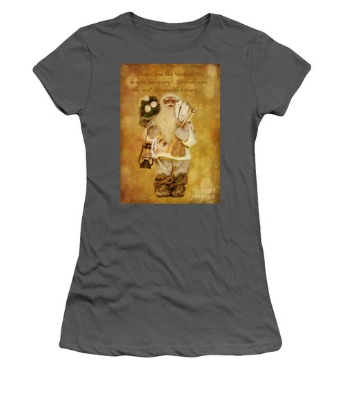 Golden Santa Card 2015 Women's T-Shirt (Athletic Fit)