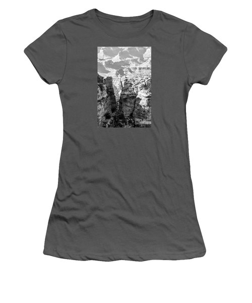 Women's T-Shirt (Junior Cut) featuring the photograph Grand Canyon Bw Impression by Juergen Klust