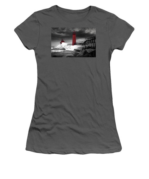 Grand Haven Lighthouse In A Rain Storm Women's T-Shirt (Athletic Fit)
