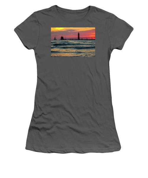 Grand Haven Pier Sail Women's T-Shirt (Junior Cut) by Pat Cook