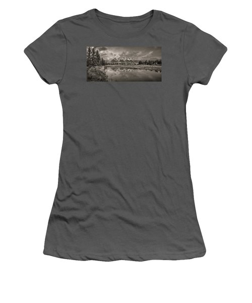 Grand Teton Monochromatic Panoramic Women's T-Shirt (Athletic Fit)