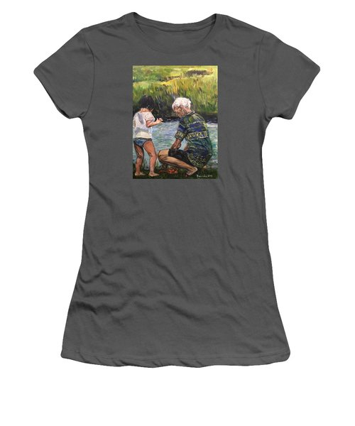 Women's T-Shirt (Junior Cut) featuring the painting Grandpa And I by Belinda Low
