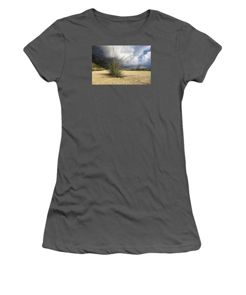 Grass Growing Out Of Crack In Tarmac Women's T-Shirt (Junior Cut) by Perry Van Munster