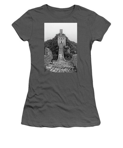 Women's T-Shirt (Junior Cut) featuring the photograph Great Wall 1, Jinshanling, 2016 by Hitendra SINKAR