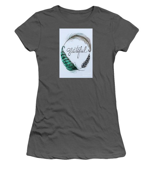 Women's T-Shirt (Junior Cut) featuring the painting Grateful by Elizabeth Robinette Tyndall