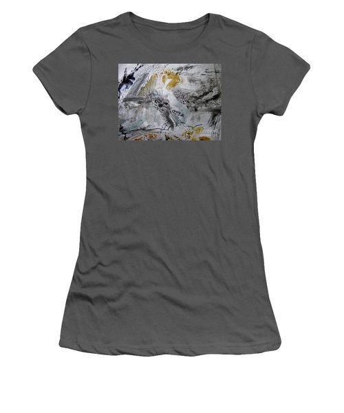 Women's T-Shirt (Junior Cut) featuring the painting Gray And Gold by Nancy Kane Chapman