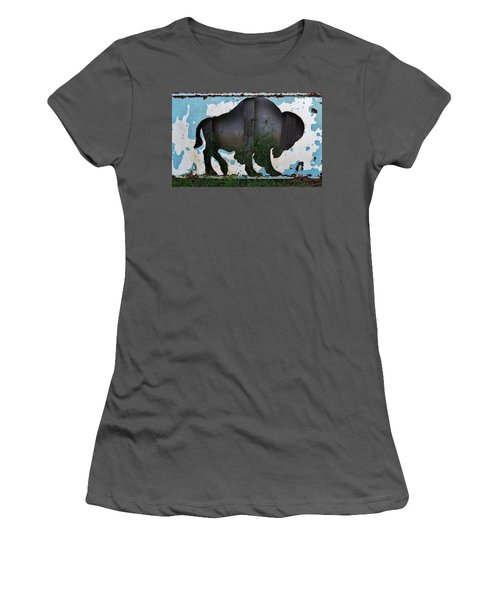 Women's T-Shirt (Athletic Fit) featuring the photograph Gray Buffalo by Larry Campbell