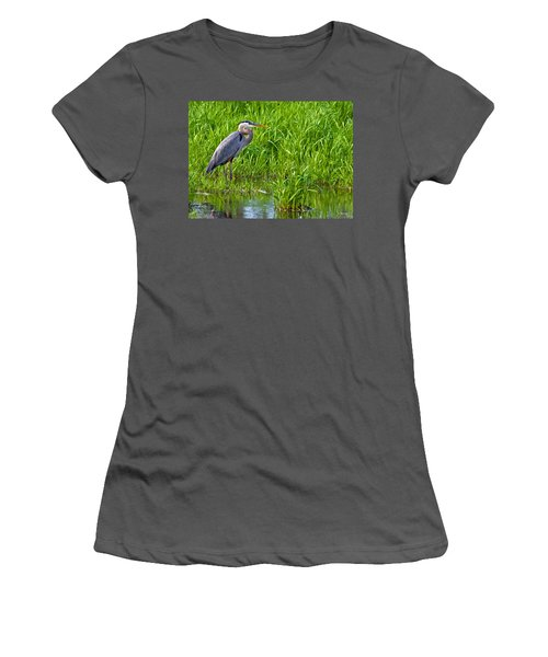 Great Blue Heron Waiting Women's T-Shirt (Athletic Fit)