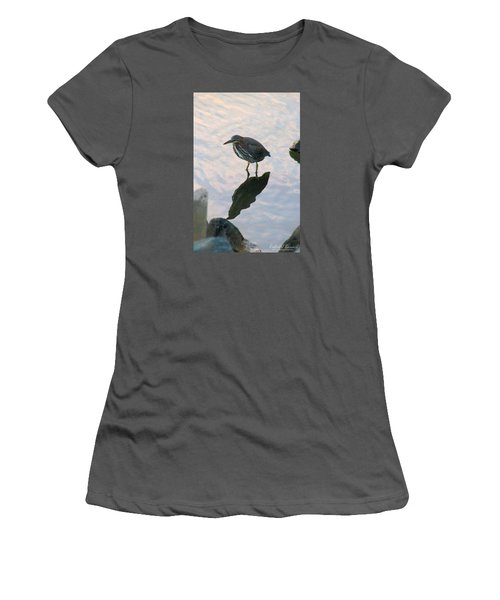 Women's T-Shirt (Junior Cut) featuring the photograph Green Heron In Pink Waters by Robert Banach