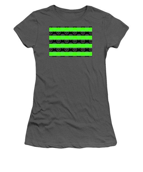 Green Skull Stripes Women's T-Shirt (Junior Cut) by Roseanne Jones