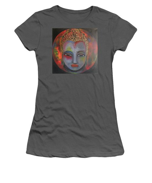 Grey Buddha In A Circular Background Women's T-Shirt (Athletic Fit)