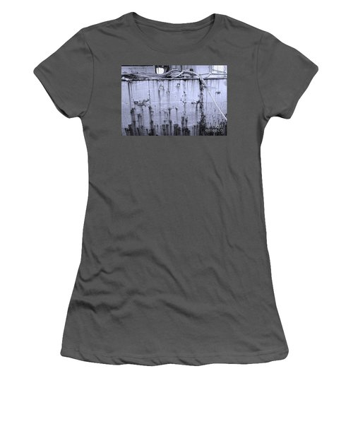 Women's T-Shirt (Junior Cut) featuring the photograph Grimy Old Ship Hull by Yali Shi