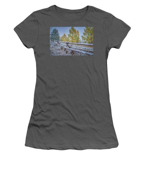 Gros Ventre Grand Teton Fall Snowfall Fence Women's T-Shirt (Athletic Fit)