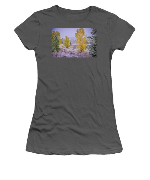 Gros Ventre Grand Teton Fall Snowfall Women's T-Shirt (Athletic Fit)