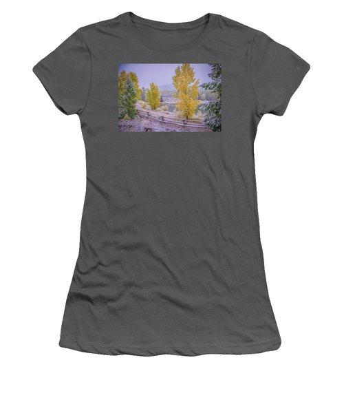 Gros Ventre Grand Teton Fall Snowfall Women's T-Shirt (Athletic Fit)