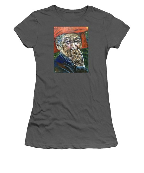 Women's T-Shirt (Junior Cut) featuring the painting H A P P Y by Belinda Low