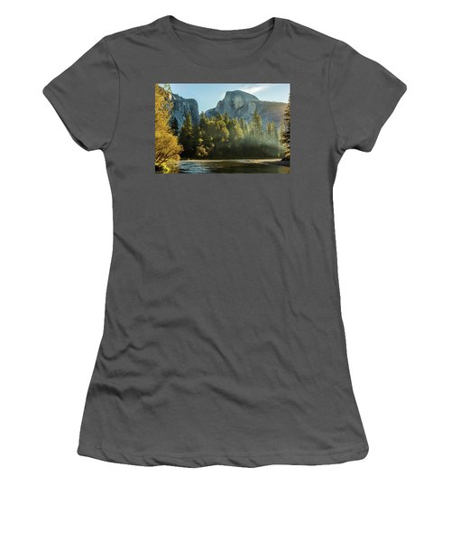 Half Dome And Merced River Autumn Sunrise Women's T-Shirt (Athletic Fit)