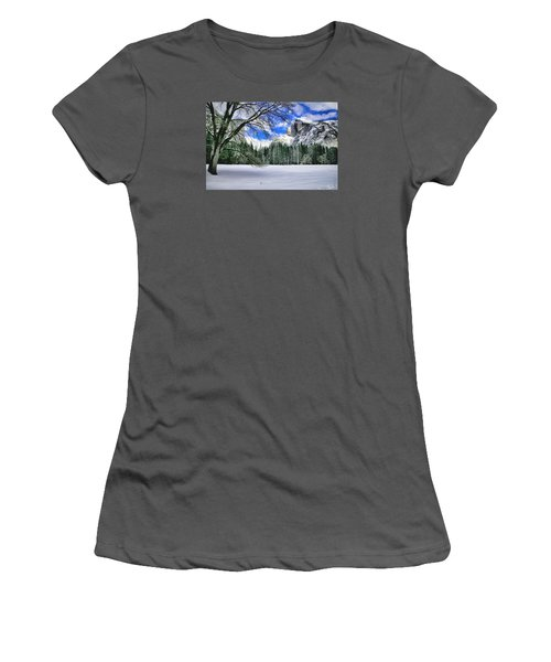 Half Dome In The Snow Women's T-Shirt (Athletic Fit)