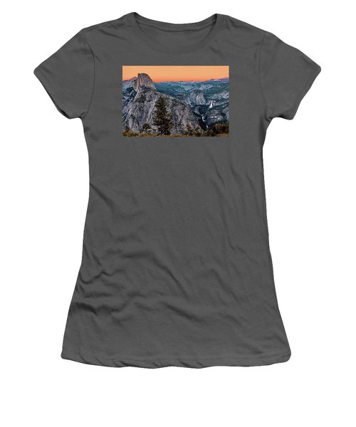 Halfdome And The Waterfalls At Sunset Women's T-Shirt (Athletic Fit)