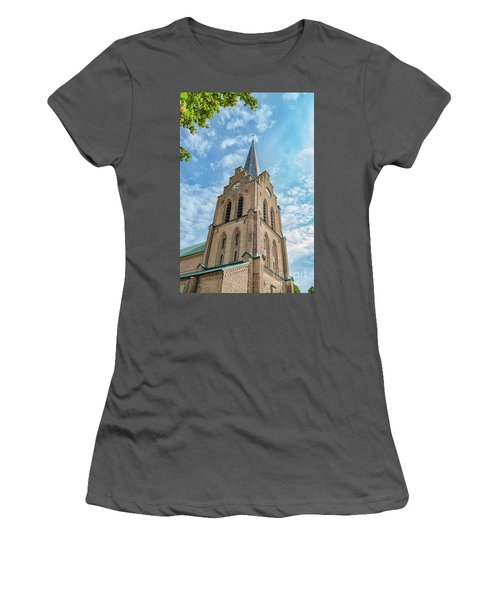 Women's T-Shirt (Junior Cut) featuring the photograph Halmstad Church In Sweden by Antony McAulay