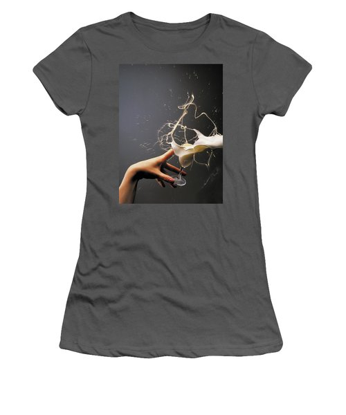 Women's T-Shirt (Junior Cut) featuring the photograph Hand With The Flying Glass Of Liqueur by Evgeniy Lankin