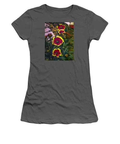 Women's T-Shirt (Junior Cut) featuring the painting Happy Faces by Ron Richard Baviello