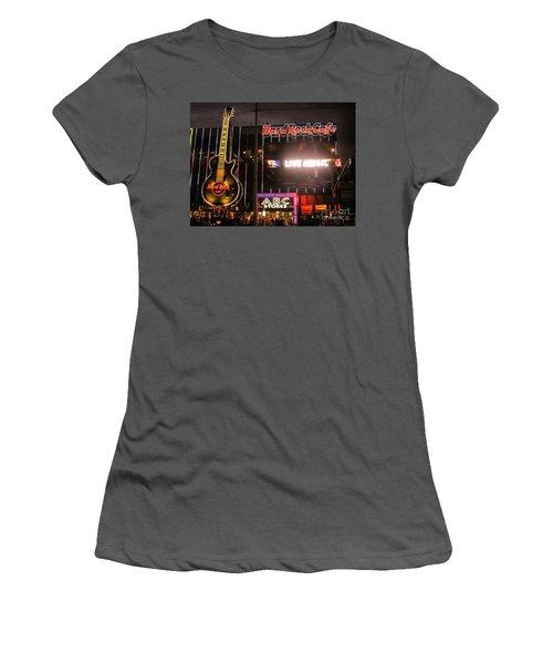 Hard Rock Cafe Las Vegas Strip At Night Women's T-Shirt (Junior Cut) by RicardMN Photography