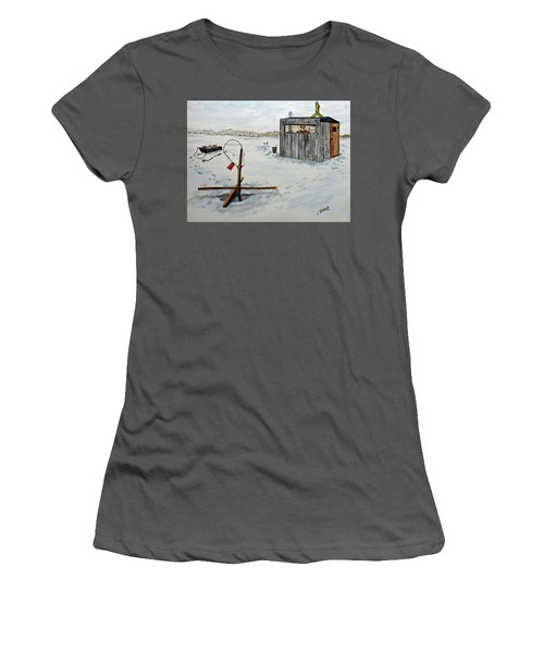 Hard Water Fishing Women's T-Shirt (Athletic Fit)