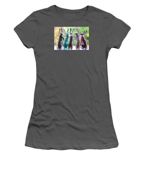 Hares With Scarves Women's T-Shirt (Junior Cut) by Debra Baldwin