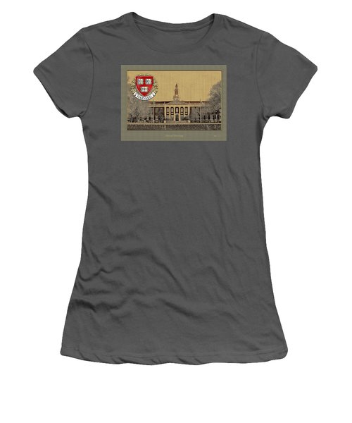 Harvard University Building With Seal Women's T-Shirt (Athletic Fit)