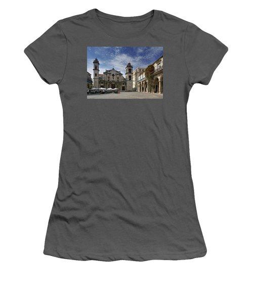 Havana Cathedral. Cuba Women's T-Shirt (Athletic Fit)