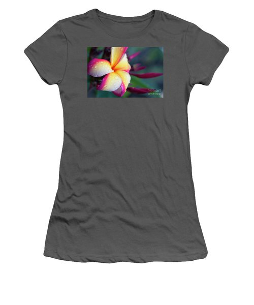 Women's T-Shirt (Junior Cut) featuring the photograph Hawaii Plumeria Flower Jewels by Sharon Mau
